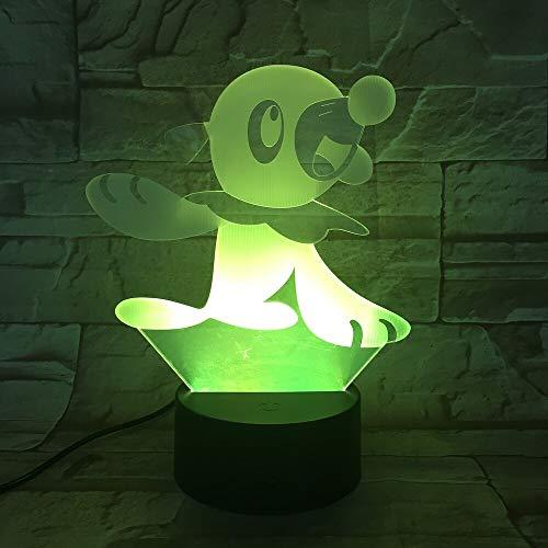 Nur 1 Stück Haustier Go Popplio Figur Baby Nachtlampe LED Farbwechsel Nachtbett Luminaria Kinder Geschenk USB Led Nachtlicht Kinder Popplio