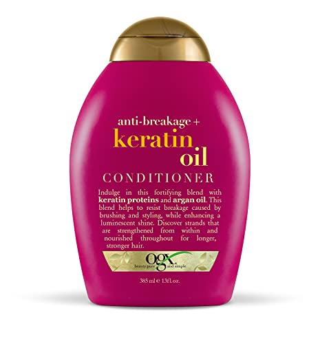 OGX Anti-Breakage + Keratin Oil Fortifying Anti-Frizz Conditioner for Damaged Hair & Split Ends, with Keratin Proteins & Argan Oil, Paraben-Free, Sulfate-Free Surfactants, 13 fl oz