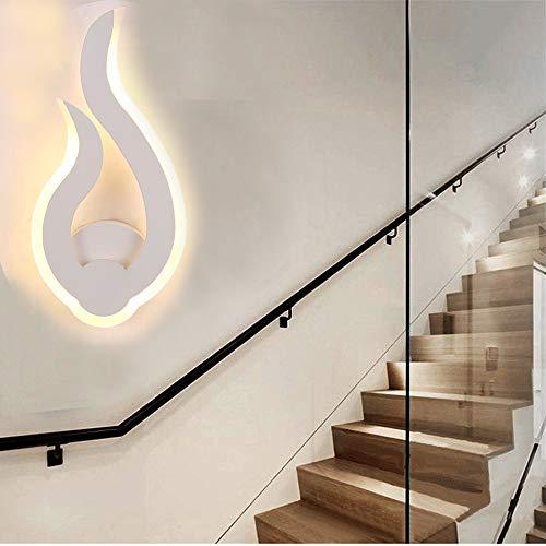 Wandlamp binnen, moderne LED-wandlamp, 9 W, warmwit, 3000 K, hoogte 30 cm, vlamvorm, wandlicht, nachtlampje, voor woonkamer, hal, slaapkamer, 220 V, IP20