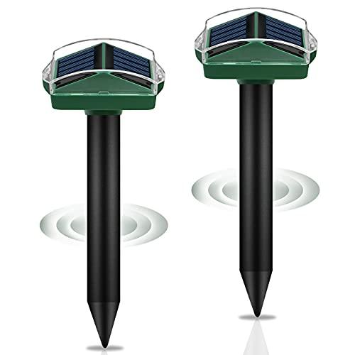 Solar Maulwurfabwehr, synmixx 2 Stück Ultrasonic Solar Maulwurfschreck mit 4 Different Sonic Pulses, IP67 Wasserdicht Solar Maulwurfbekämpfung Schädlingsbekämpfung für Den Garten