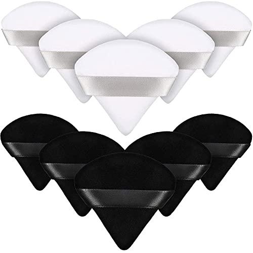 10pcs Triangle Poudre Poudre Puff Fabrication Pouce De Maquillage Pour Poudre En Vrac Fondation Molle Fondation Cosmétique Sponge Poudre Minérale Poudre Humide Outil De(5pcs Noir + 5pcs Blanc)