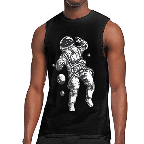 Bozasy Men Cool Astronaut Tank Top Gym Sleeveless T-Shirts for Black Medium