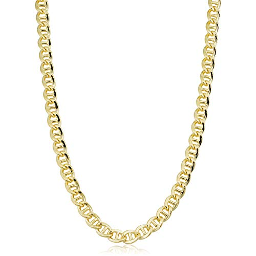 Solid 14k Yellow Gold Filled 6.8 mm Mariner Link Chain Necklace for Men (20, 24 or 30 inch)