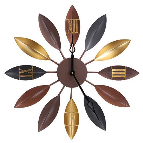 Feibrand Orologio da Parete Grande Silenzioso Vintage Orologi Foglie Ferro Casa Cucina Muro Decorazion 55 Centimetri