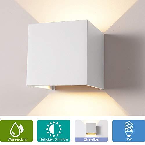 Elitlife 7W Dimmer Aluminium Wasserdicht Wandleuchte,85-265V 3000K Einstellbare 2 LED für Innen und...