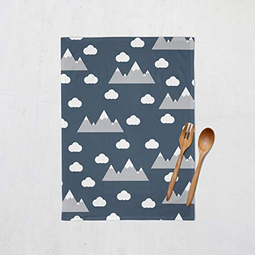 Marineblau skandinavische Wolken und Berge Geschirrtuch, 48 cm x 68 cm Küchentuch