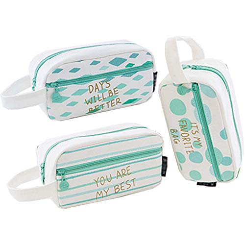 Pencil Bag Cute Big Simple Practical Multifunctional Use Wash Bag for School Office Home Set of 3