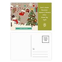 クリスマスツリーの手袋雪だるま祭り 詩のポストカードセットサンクスカード郵送側20個