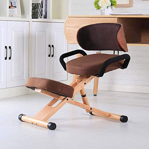 XIALIUXIA Office Kneeling Chairs, Ergonomic Wooden Knee Chairs with Backrest and Armrest Bad Backs Support Adjustable Computer Desk Posture Correction...