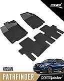 3D MAXpider L1NS05801509 Complete Set Custom Fit All-Weather Floor Mat for Select Nissan Pathfinder Models - Kagu Rubber (Black)