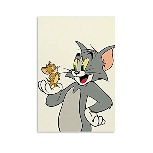 DRAGON VINES Tom and Jerry - Lienzo decorativo para televisión, diseño de animación infantil, 60 x 90 cm
