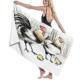 TISAGUER Toalla de baño Tinta de Arte Blanco y Negro de Granja Pintura Dos Pollos Grandes y Dos Pollitos Arte Suave Hoja de baño de para el hogar,los baños,la Piscina Toallas Baño Toalla de Playa