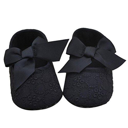 DZT1968® Baby Girl Soft Sole Bowknot Shoes Prewalker Sneakers (0~6 Months, Black)