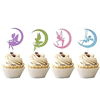 36 PCS Fairy Cupcake Toppers with Moon Elves Cupcake Picks Flower Fairy Theme Baby Shower Girls Birthday Party Cake Decoratiosn Supplies