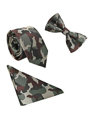Hombre Pajarita Corbata Pañuelo de Bolsillo 3 en 1 Set - Pajarita Clásica 6*12 cm & Corbata Estrecha 6 cm & Pañuelo Paisley Verde Camuflaje