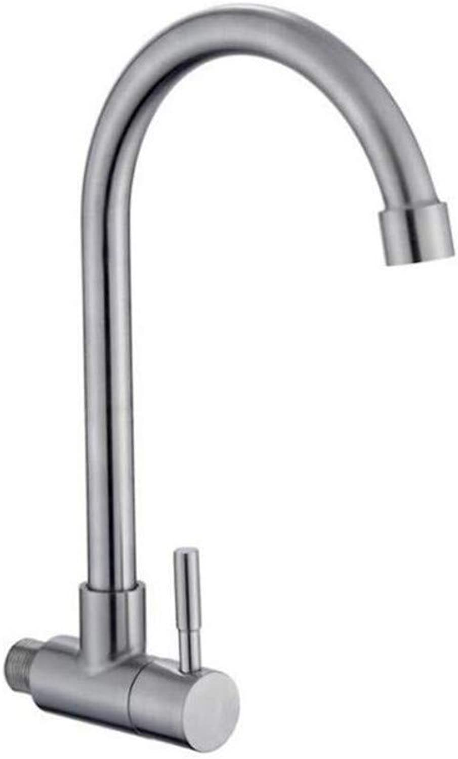 Taps Kitchen Sinktaps Mixer Swivel Faucet Sink Stainless Steel Single-Cold Transverse Universal Pipe Faucet