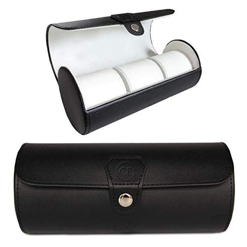 Vegan Leather Travel Watch Case Roll Organizer by Case Elegance - Classic Black