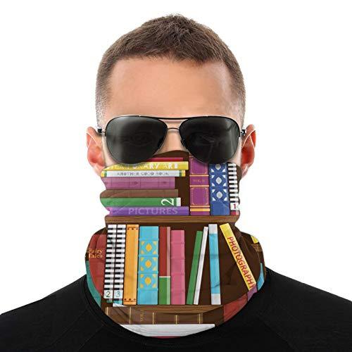 FULIYA Bufanda de cabeza variada, gráfico de dibujo digital de la biblioteca casera con libros sobre diferentes temas de imagen, bufanda multifuncional al aire libre para hombres y mujeres