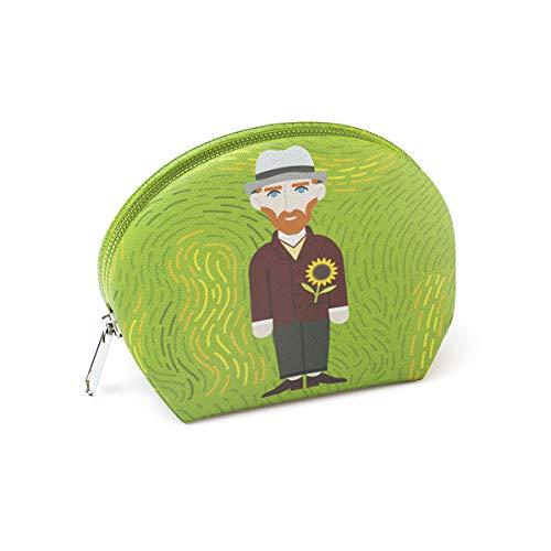 Designer Souvenirs - Monedero Pequeño con Cremallera para Mujer de Diseño Van Gogh | Piel Sintética 100% Eco-Friendly | Cartera pequeña Redonda | 10x7x5 cm | Colección The Sunflower is Mine