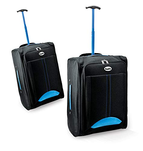 KEPLIN Lightweight Wheeled Cabin Approved Travel Bag Suitcase Hand Luggage Trolley (Blue/Black)