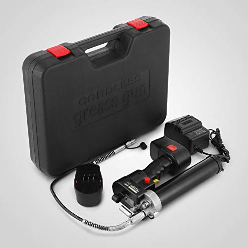 VEVOR 18V Akku-Fettpresse inkl 4.0Ah +2 Akku, Ladegerät und Tasche Universal Grease Gun