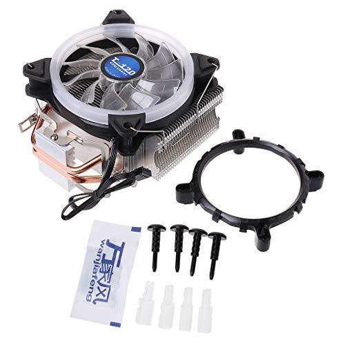 SUCHUANGUANG Ventilador de refrigeración, Enfriador de CPU, procesador de Ordenador, radiador de iluminación, 2 Tubos de Calor para Intel y Ventilador de refrigeración
