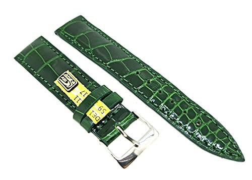 Correa de piel de cocodrilo, tamaño S, 18 mm, color verde, fabricante alemán