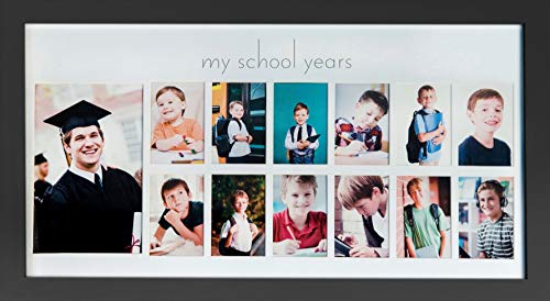 Green Pollywog School Years Picture Day Collage Frame in Elegant Black Natural Wood, Photos from Kindergarten to Graduation