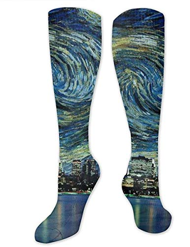 NA Chicago City Skyline nachtzicht sterrenhemel schilderij unisex sport over-de-kalf lange buis kousen 19,7 inch