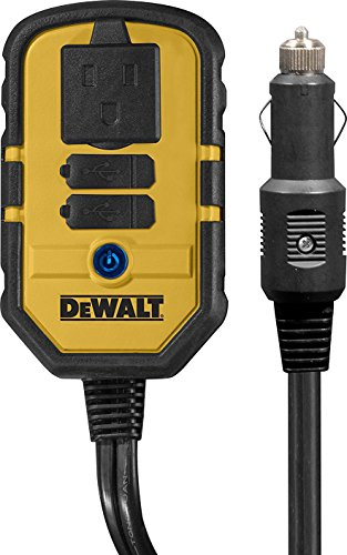 DEWALT DXAEPI140 Power Inverter 140W Car Converter: 12V DC To 120V AC Power Outlet With Dual 3.1A USB Ports