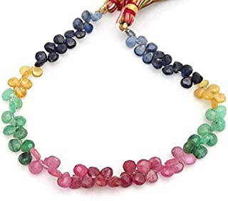 """Sale on 65% Off jewel beads Natural Multi Sapphire Faceted Heart Shaped Beads,Emerald,Ruby,Yellow Sapphire,Blue Sapphire, 5x5 mm to 6x6 mm 8"""" Strand[E0010] Code:- AUR-8422"""