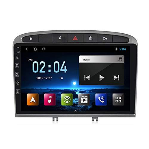 ADMLZQQ Android10.0 2 DIN Radio de Coche Autoradio Coche Estéreo con GPS Navegador para Peugeot 408 2010-2016 Soporte FM Controles del volante/Mirror-Link/Subwoofer/1080P HD Video,Negro,2+32G