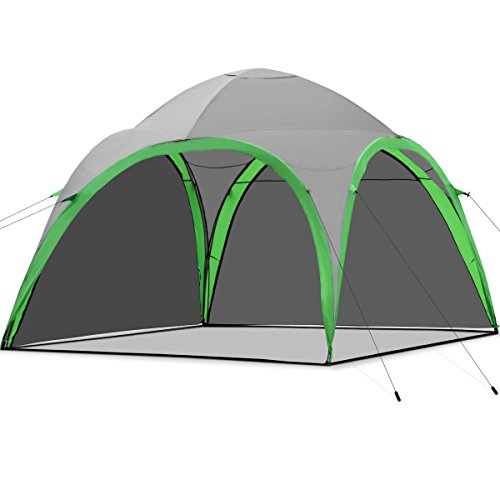 COSTWAY Strandzelt Kuppelzelt, Strandmuschel für Strand Camping Festivals, Partyzelt Pavillon inkl. Tragetasche, Gartenzelt 3,2x3,2x2,5m