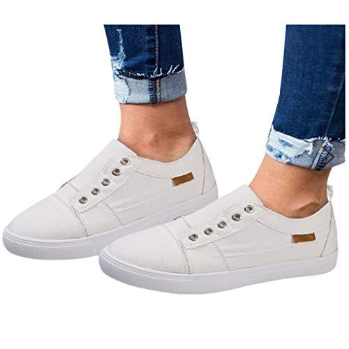 Billige Bequeme Sportschuhe für Damen/Dorical Frauen Canvas Sneaker, Low Übergrößen Flandell Top Basic Turnschuh Textil Schuhe/Schwarz, Blau, Beige, Pink 35-43 EU (42 EU, Z02-Weiß)