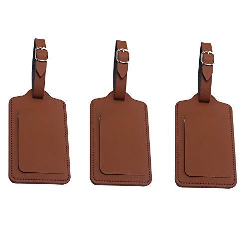 荷物ネームタグ 紛失防止 レザー スーツケースタグ 3枚入り バッグ用ネームタグ ネームプレート 番号札 出張 旅行対応 ベルト付き カバン装飾 (ブラウン)