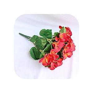 Silk Flower Arrangements Joyfeel-light Artificial Flowers Artificial Begonia Flowers Silk Fake Hydrangea Flower Home Office Wedding Decoration-23CM red-