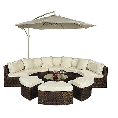 Giardino Monaco Polyrattan Gartenmöbel Set Braun 10-teilig - Lounge Möbel Set mit Sonnenschirm, Tisch und Abdeckungen - Garten Sofa Set für 8 Personen