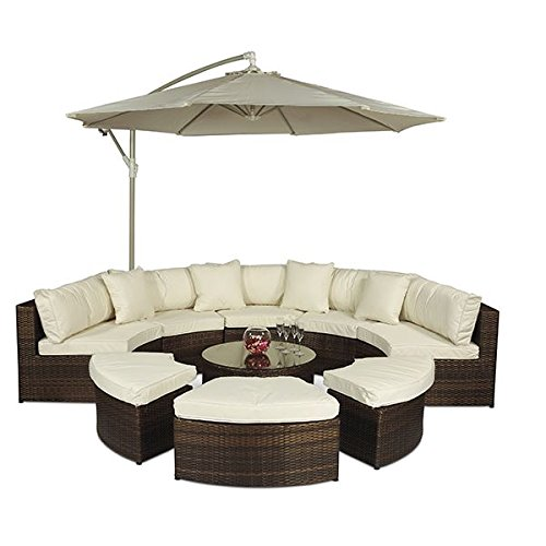 Monaco Large Brown Rattan Garden Sofa Set | 10 Piece Semi Circle Outdoor Poly Rattan Sofa Set | Fully Assembled Patio & Conservatory Wicker Garden Furniture with Parasol & Outdoor Cover