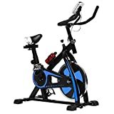 HCB Exercise Bike Indoor Cycling Bike Stationary Bike with Adjustable Seat and Resistance, Comfortable Seat Cushion Cycle Bike for Home Cardio Workout (Blue)