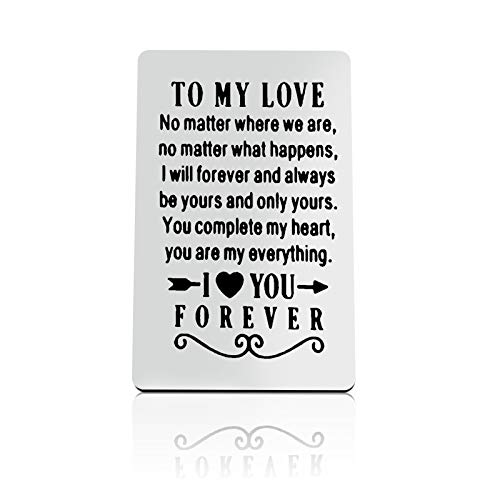 Metal Wallet Card for Him Her Couple Gifts Husband Gifts from Wife Valentines Day Gift for Boyfriend Girlfriend Christmas Engagement Gifts Wedding Birthday Gift Anniversary Engraved Wallet Card Gifts