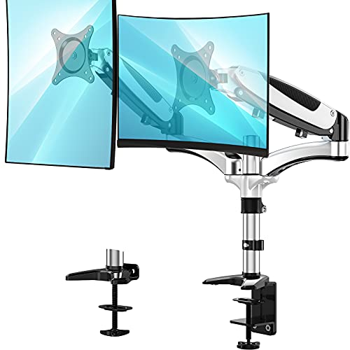 Huanuo Dual Monitor Stand - Height Adjustable Monitor Mount Fits Two 13 to 27 Inch Flat, Curved Computer Screen, Double Gas Spring Arm Desk VESA Bracket with Clamp, Grommet Mounting Base
