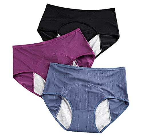 SonneSky 3 Stück Damen Perioden Unterwäsche Hohe Taille Slip Unterhosen Menstruation Komfortabel Easy Clean Hipster Plus Size(L-6XL) (5XL/6XL)