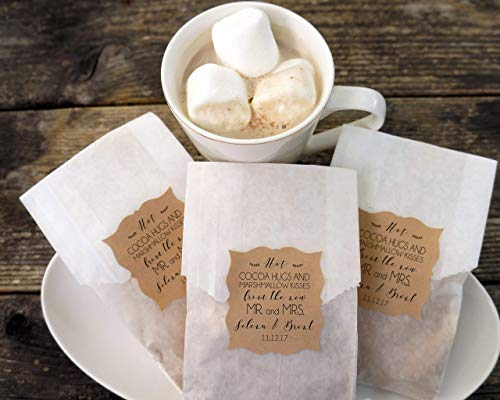 Hot Cocoa Wedding Favor, Hot Chocolate and Marshmallow Bags, Personalized Kraft Paper Stickers, Fall Wedding, Winter Favor, Bridal Shower - Set of 20
