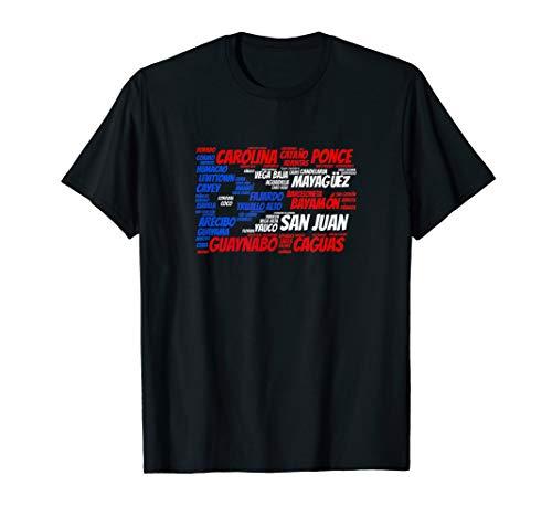 Puerto Rico Flag with City Names San Juan Word Art T-Shirt