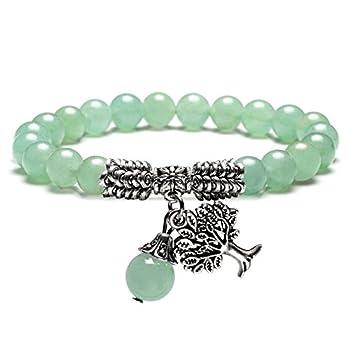 JOVIVI 8MM Green Aventurine Natural Gemstone Healing Crystal Tree of Life Lucky Charm Stretch Bracelet