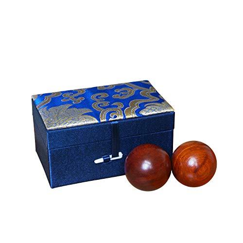 Qi Gong Kugeln aus Palisanderholz Palisander Qi-Kugeln Baoding Kugeln mit Brokatkästchen Chinesische Kugeln für Entspannung Meditation