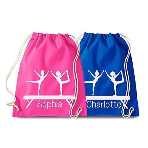 Kinder Turnbeutel mit Namen, Personalisierter Gymnastic Rucksack für Mädchen, Sporttasche, Geburtstagsgeschenk für Kids, Acrobatik Tasche