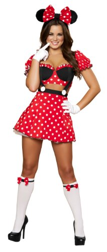 Roma Costume 3 Piece Mousey Mistress Costume, Red/Black, Small/Medium