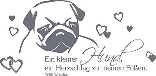 GRAZDesign Wanddekoration EIN Kleiner Hund Spruch - Wandposter Wandsticker Geschenke Mops - Wandtattoo Wandspruch Hundesalon / 61x30cm / 640089_30_071