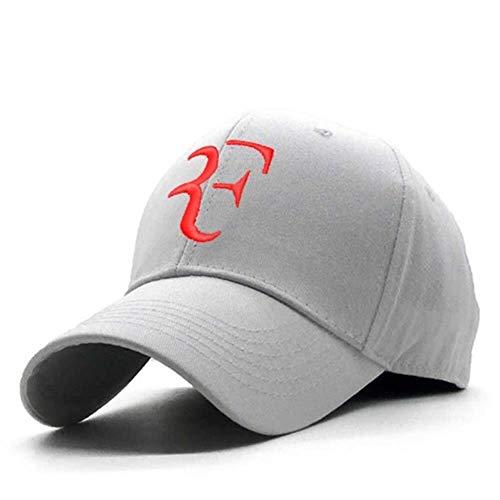 Hat Geburtstagsgeschenk 100% Baumwolle 3D-Stickerei-Tennisstar Roger Federer Dad Hat Sport Baseballmütze Unisex-Snapback Caps Tennis F Herren Caps (Color : White Hat Red Logo, Size : 56cm 60cm)